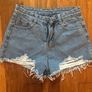 Pants - Cut Off High Waisted Denim Jean Short Shorts